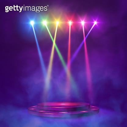 Stage podium with lighting,