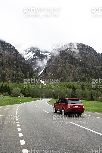 Land Rover Range Rover sport along the road in switzerland