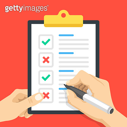 Hand holding clipboard with document, green check marks and red crosses. Ticks and cross marks, x marks. Paper and pen. Checklist, survey, check list, correct, quality control concepts. Flat design. Vector illustration