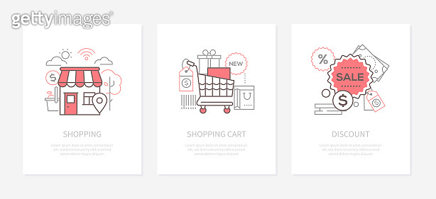 Shopping sale - line design style icons set