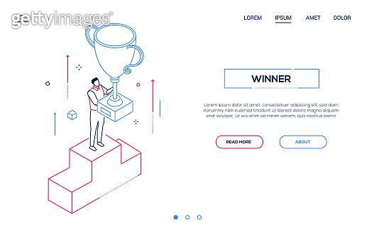 Winner - line design style isometric web banner
