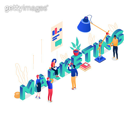 Marketing concept - modern colorful isometric vector illustration