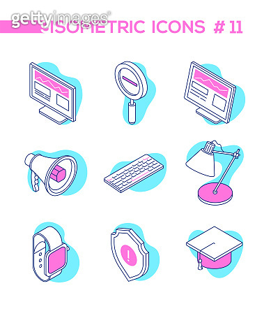 Business and education - line design style isometric objects