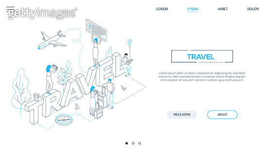 Travel concept - line design style isometric web banner