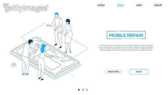 Mobile repair service - line design style isometric web banner
