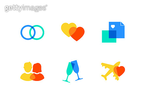 Love and marriage - flat design style icons set