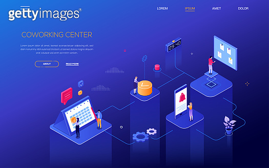 Planning system - modern isometric vector web banner