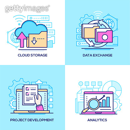 Business and technology - set of line design style colorful illustrations