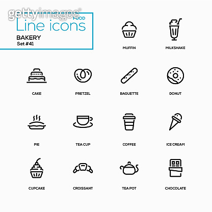 Bakery concept - line design style icons set