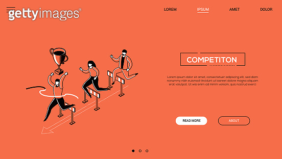 Competition - line design style isometric web banner
