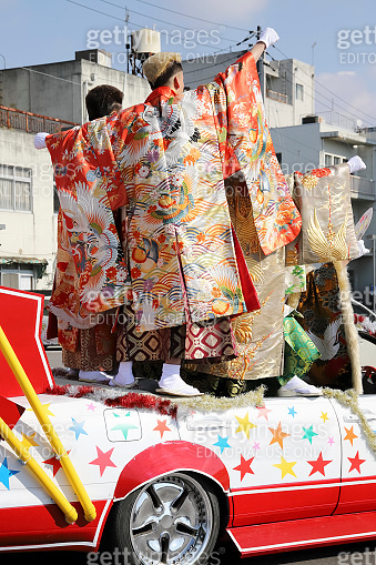 Japanese young men wearing traditional Kimono