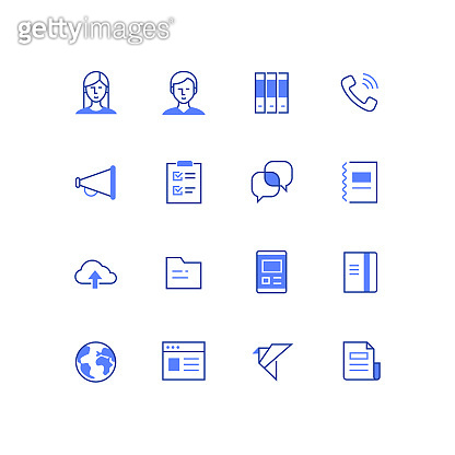 Business and office work - line design style icons set