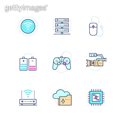 Modern technology - colorful line design style icons set