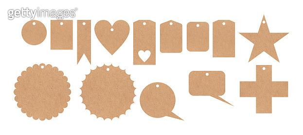 Beige recycled price cards variety against white background, illustration