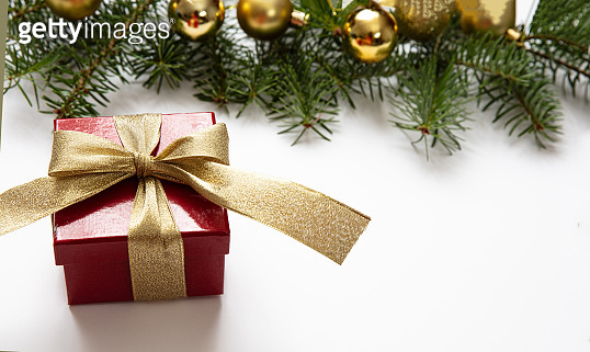 Christmas gift and decoration on white color background