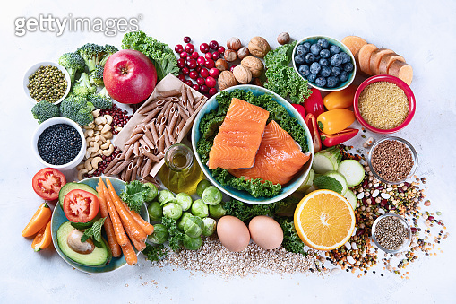 Healthy food with dietary fiber, antioxidants, minerals and vitamins
