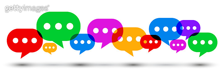 Group icons communication concept. Set colored speech bubble, chat sign - stock vector
