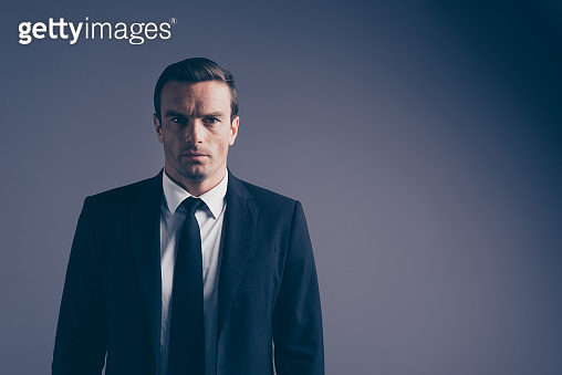 Closeup image photo headshot shot portrait of cool classic classy chic focused confident serious facial expression boss chief employee employer looking at camera isolated grey background copy space