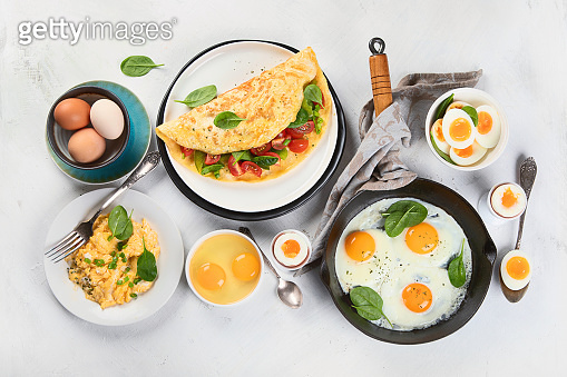 Cooked egg dishes for breakfast.