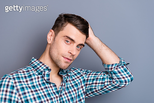 Close up photo attractive amazing he him his man hands arms touch hold perfect hair styling recommend visit barber shop stylist wearing casual plaid checkered outfit isolated grey background