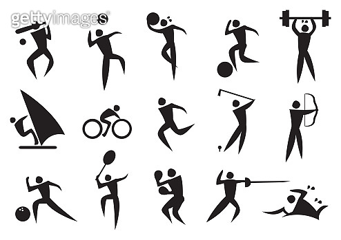 Icon of sport man in the different activities