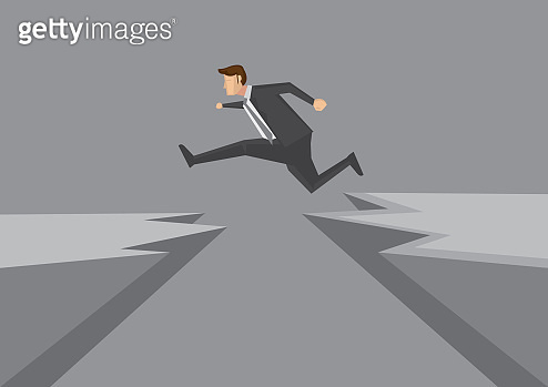 Confident Young Businessman Leaps Across Dangerous Cliff Vector Illustration