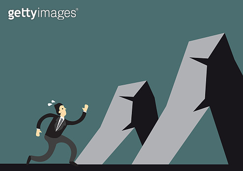 Businessman running and approach mountains to overcome.