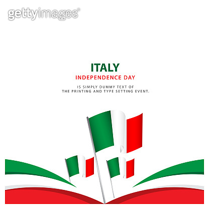 Happy Italy Independence Day Celebration Poster Template Design Illustration