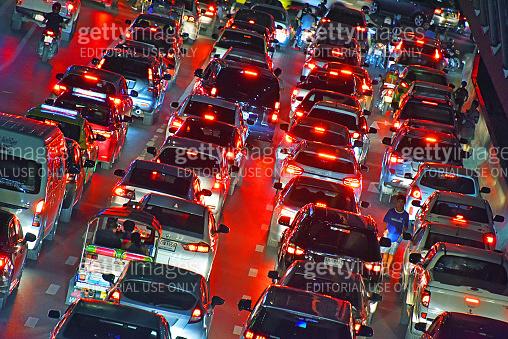 Street of Bangkok during rush hour
