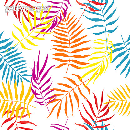 Tropical leaf seamless pattern.