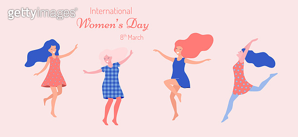 International Women's day. Dancing happy women.