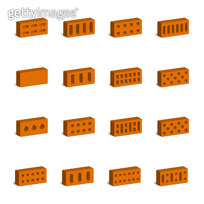 Set of 3D bricks, vector illustration.