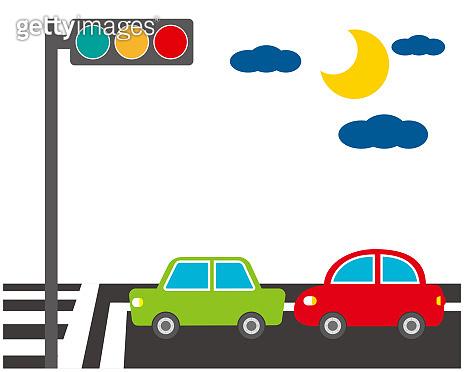 Vector car Icon.traffic light icon.