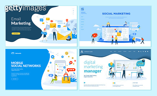 Set of web page design templates for mobile social network, internet marketing solutions