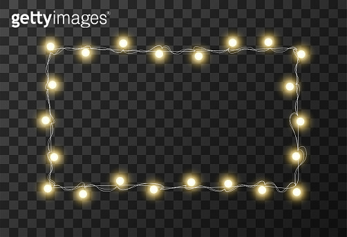 Christmas lights isolated on transparent background, vector illustration