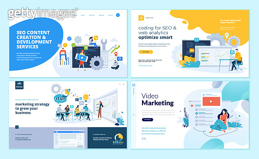 Set of web page design templates for web and mobile apps, SEO, marketing strategy, video marketing
