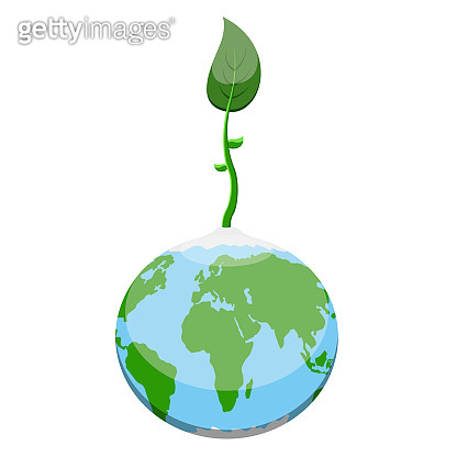 Earth planet with a plant