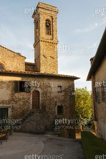 Cityscape of the fortified medieval village of Volpaia in the municipality of Radda in Chianti in the province of Siena Italy.