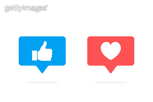 Thumbs up and heart icon in rounded square pin. Modern flat style vector illustration