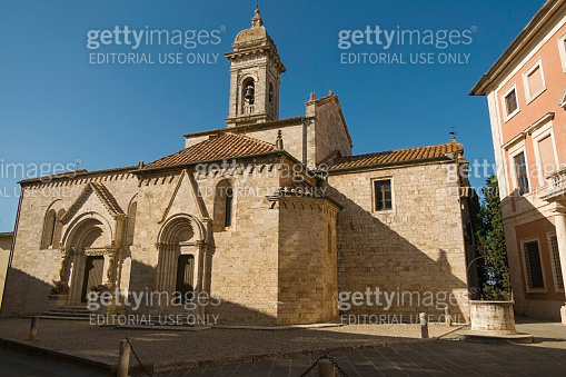 Collegiate church of San Quirico in the Romanesque style located in the medieval Tuscan village of San Quirico d'Orcia