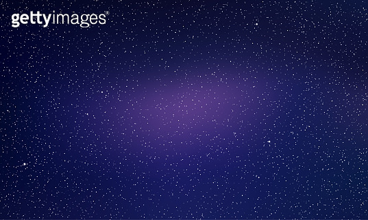 Star sky, starry night light space vector background. Northern lights glow, blue aurora abstract galaxy stars background