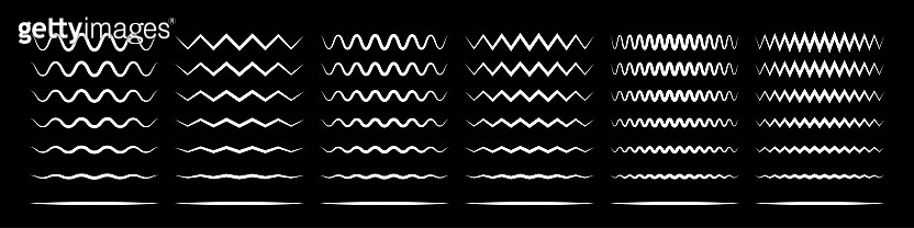 Zigzag wave line patterns, smooth end squiggly horizontal white lines. Vector curvy underlines on black background