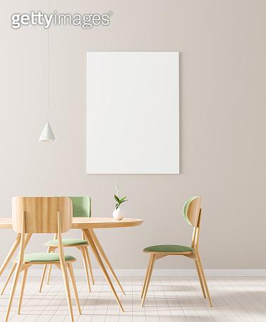 Mock up poster frame in Scandinavian style dining room. Minimalist dining room design. 3D illustration.