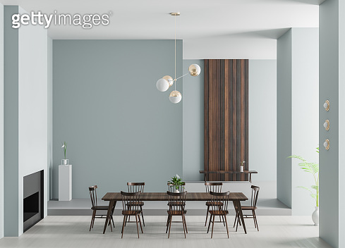 Spacious luxury dining room with fireplace. Minimalist modern dining room design. 3D illustration.