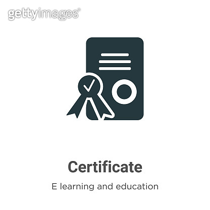 Certificate vector icon on white background. Flat vector certificate icon symbol sign from modern e learning and education collection for mobile concept and web apps design.
