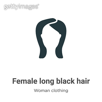 Female long black hair vector icon on white background. Flat vector female long black hair icon symbol sign from modern woman clothing collection for mobile concept and web apps design.