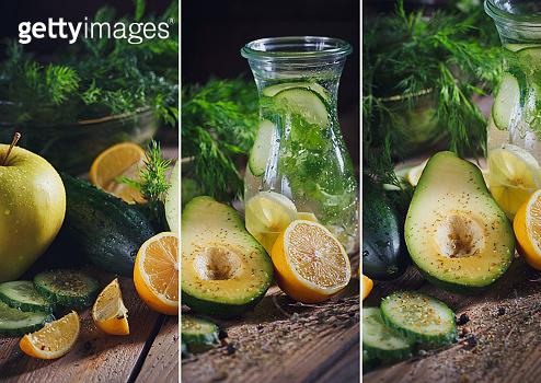 Collage from different pictures of green vegetables: apple, avocado, cucumber, lemon and detox water