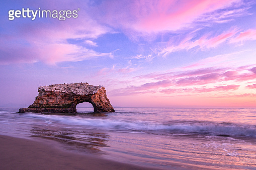 Sunset View of Natural Bridges Rock Formation
