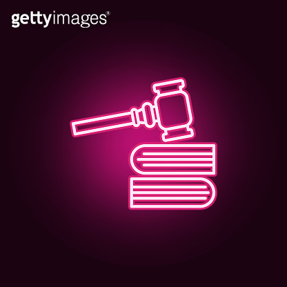 Gavel, books neon icon. Elements of Law & Justice set. Simple icon for websites, web design, mobile app, info graphics