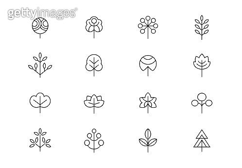Trees editable stroke icons